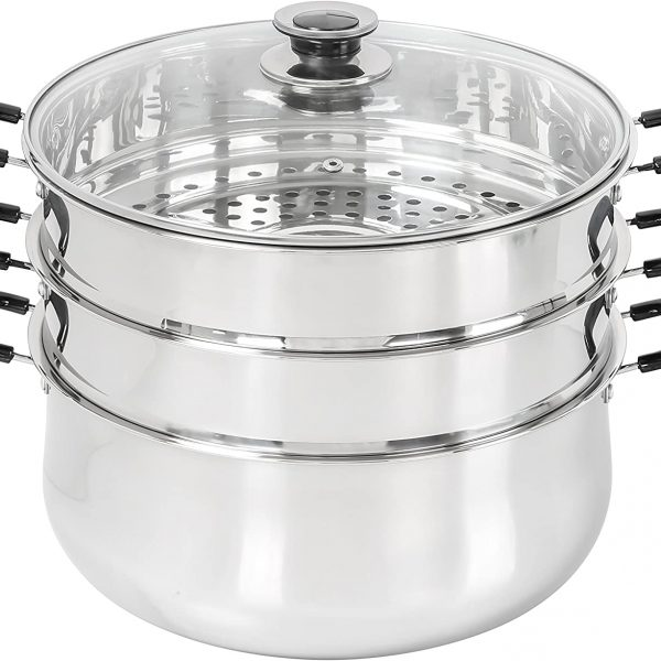 30 CM STAINLESS STEEL H.MAT-POT WITH STEAM SET OF 10