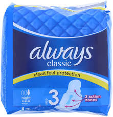 ALWAYS CLASSIC THICK LONG SANITARY PADS 8'S
